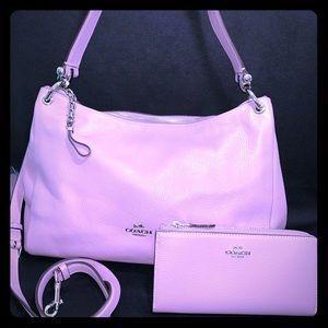 Mauve Coach Shoulder/Crossbody Bag and Wallet